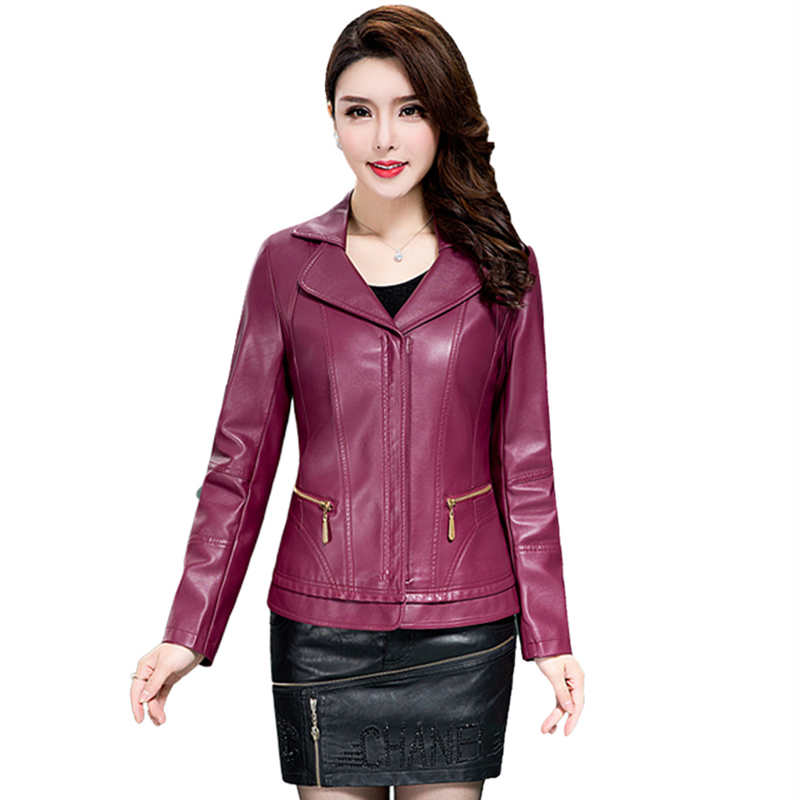 2019 autumn sheepskin   leather   clothing female   leather   jacket short outerwear motorcycle design Moto jaqueta de couro QH1055