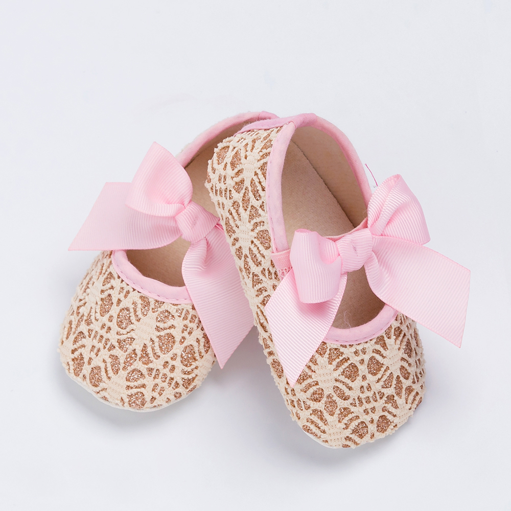 YK&Loving Retail Pink Cute Infant Baby Shoes Lace Embroidered Newborn Cotton Shoes Soft Bow Brand Spring Baby Girls First Walker