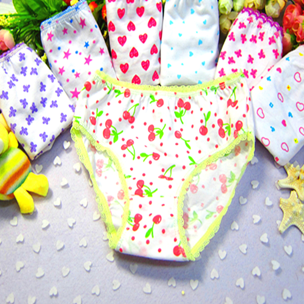 Buy 1pc 3-12year Children's cotton underwear female cartoon printed baby girls underwear boxer briefs panties Panties Pants