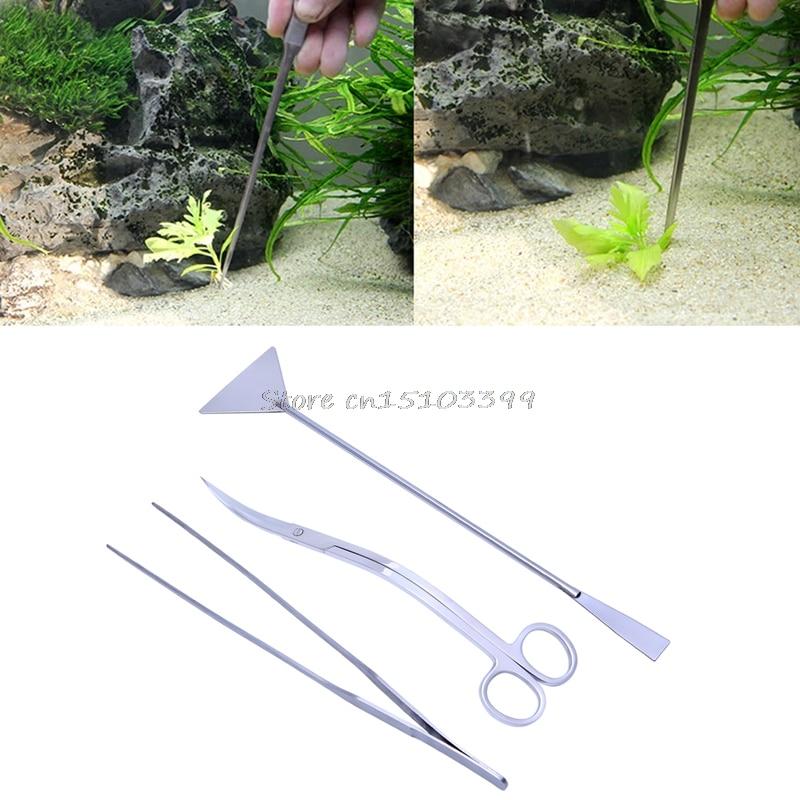 3in1 Aquarium Wasser Lebende Pflanzen Wartung Pinzette Schere Leveler Werkzeug Kit Drop Ship Schrumpffrei