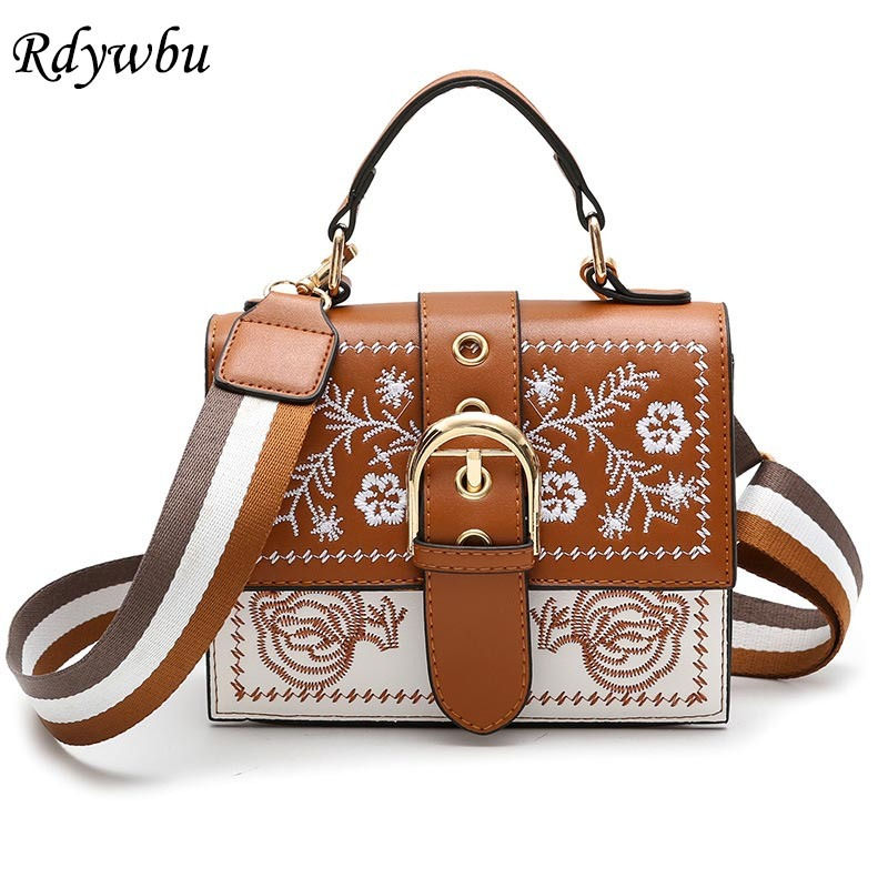 Rdywbu Flower Embroidery Shoulder Bag Womens Striped Wide Strap PU Flap Handbag New Fashion Small Crossbody Travel Bag B240