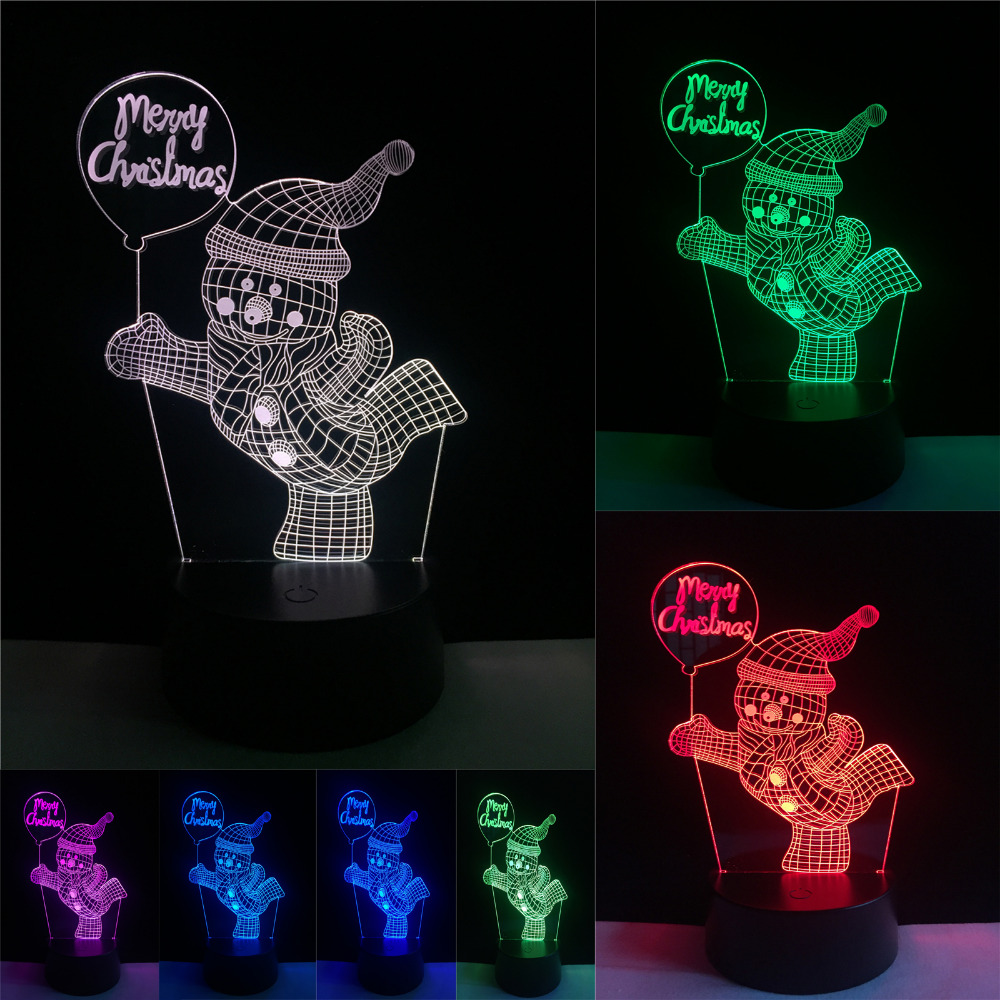 Christmas Decor Snowman 7 Color Changing Lamp 3D Visual Led Night Lights Child Kids Lampara Lampe Baby Sleeping Lighting Gifts