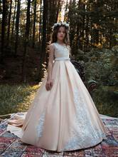 vestido daminha Flower Girl Dresses Princess Kids Formal Wear Gowns Appliqued Sweep Train with Sash Girl Pageant Ball Gown cute lovely champagne lace flower girl dresses with pink sash appliqued ball gown party wedding girls dress with train