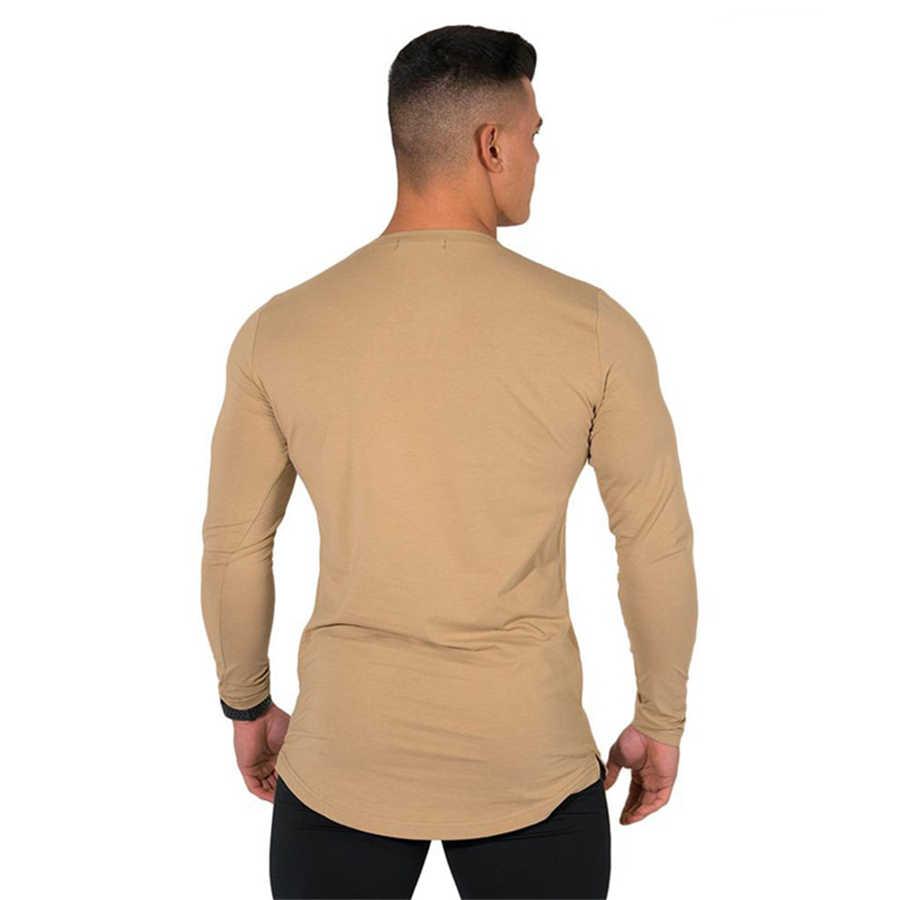 2019 Мужская Новая модная повседневная облегающая футболка с принтом для фитнеса бодибилдинга, брендовые Футболки с длинным рукавом