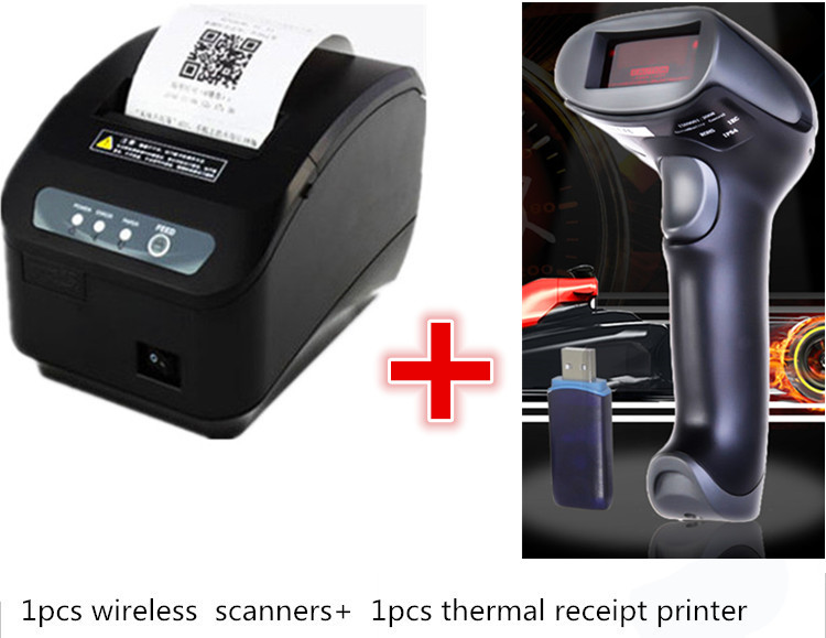 1pcs 1D wireless Scanner + 1pcs High quality original 80mm Auto-cutter Thermal Receipt Printer Kitchen/Restaurant pos printer high quality 80mm auto cutter usb bluetooth thermal receipt printer pos printer for hotel kitchen restaurant retail