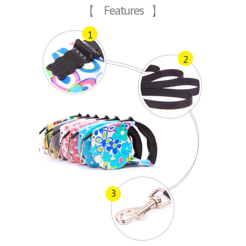 Pet Supplies Dog Collar Leash Automatic Retractable Leash Harness Puppy Patrol Rope Walking Dog Traction Pet Leashes Leads 2PCS
