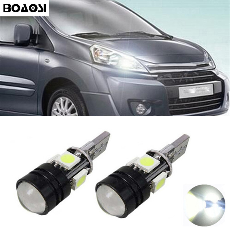BOAOSI 2x T10 LED 5050 4smd+1.5W Car Light bulbs Projector Lens For <font><b>Citroen</b></font> C4 C5 C3 Grand Picasso <font><b>Berlingo</b></font> Xsara Saxo C1 C2 ds3 image