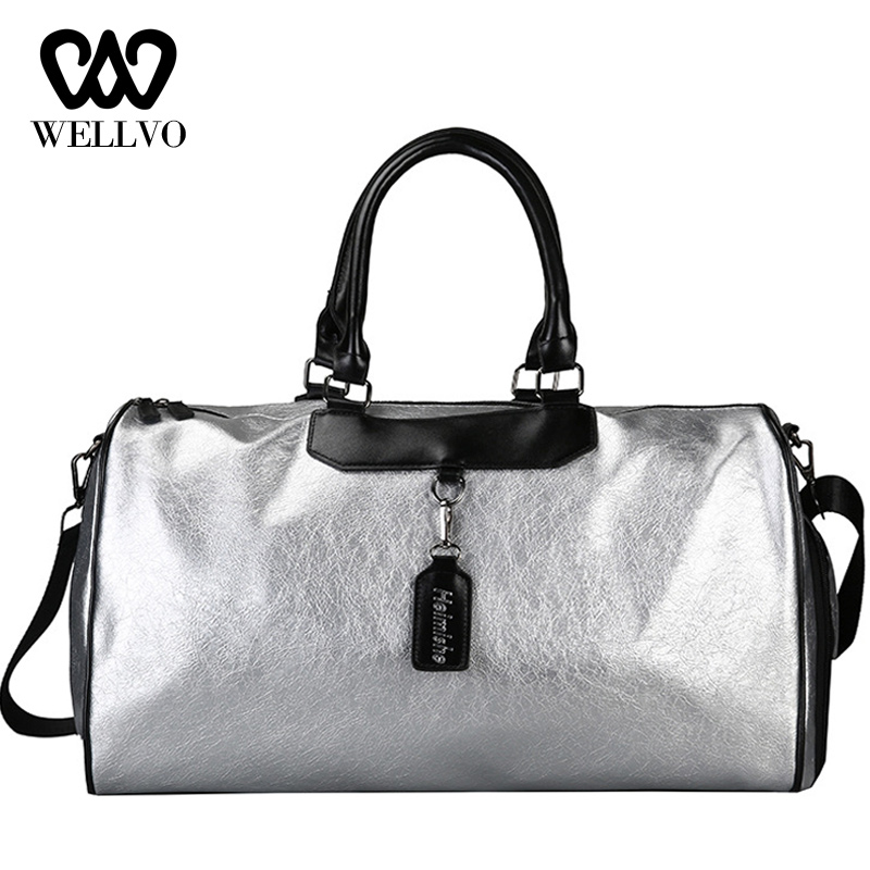 Brand Fashion Leather Handbag Women Crossbody Big Travel Bag Silver Men Hand Luggage Lady Duffle Bags Sac Traveling Tote XA720WB
