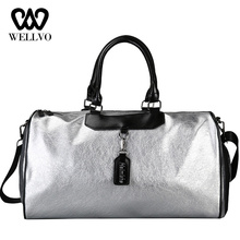 Brand Fashion Leather Handbag Women Crossbody Big Travel Bag Silver Men Hand Luggage Lady Duffle Bags Sac Traveling Tote XA720WB wellvo men pu leather travel duffle bag round bucket shape handle bag crossbody bags shoes storage handbag sac de voyagexa131wc