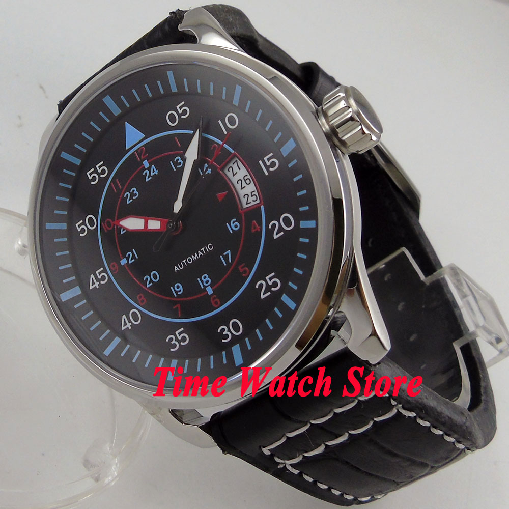 44mm Planca black dial blue marks date window luminous 24 hours MIYOTA Automatic movement men's watch men PL2 44mm planca black dial luminous 24 hours miyota automatic movement men s watch men pl1
