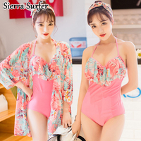 2016 New Swimsuit Fashion Sexy Steel Holder Head Triangle Belt Two Piece Suit Blouse