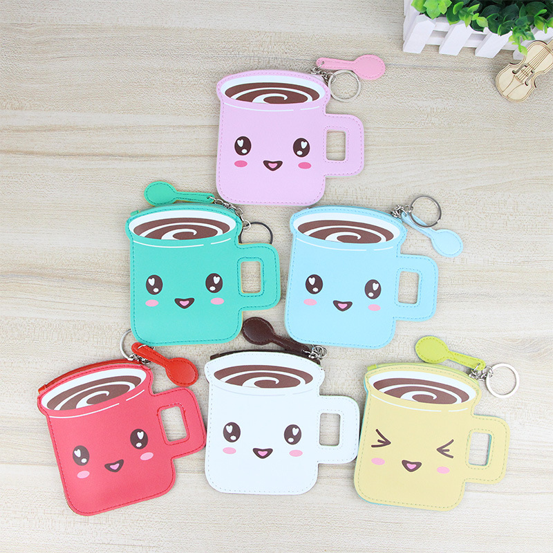 PACGOTH Korean Style PU Leather Coin Bags Holders For Coin Cash Cards Coffee Cup Pattern Cartoon Printing Unisex Pouch 1 Piece