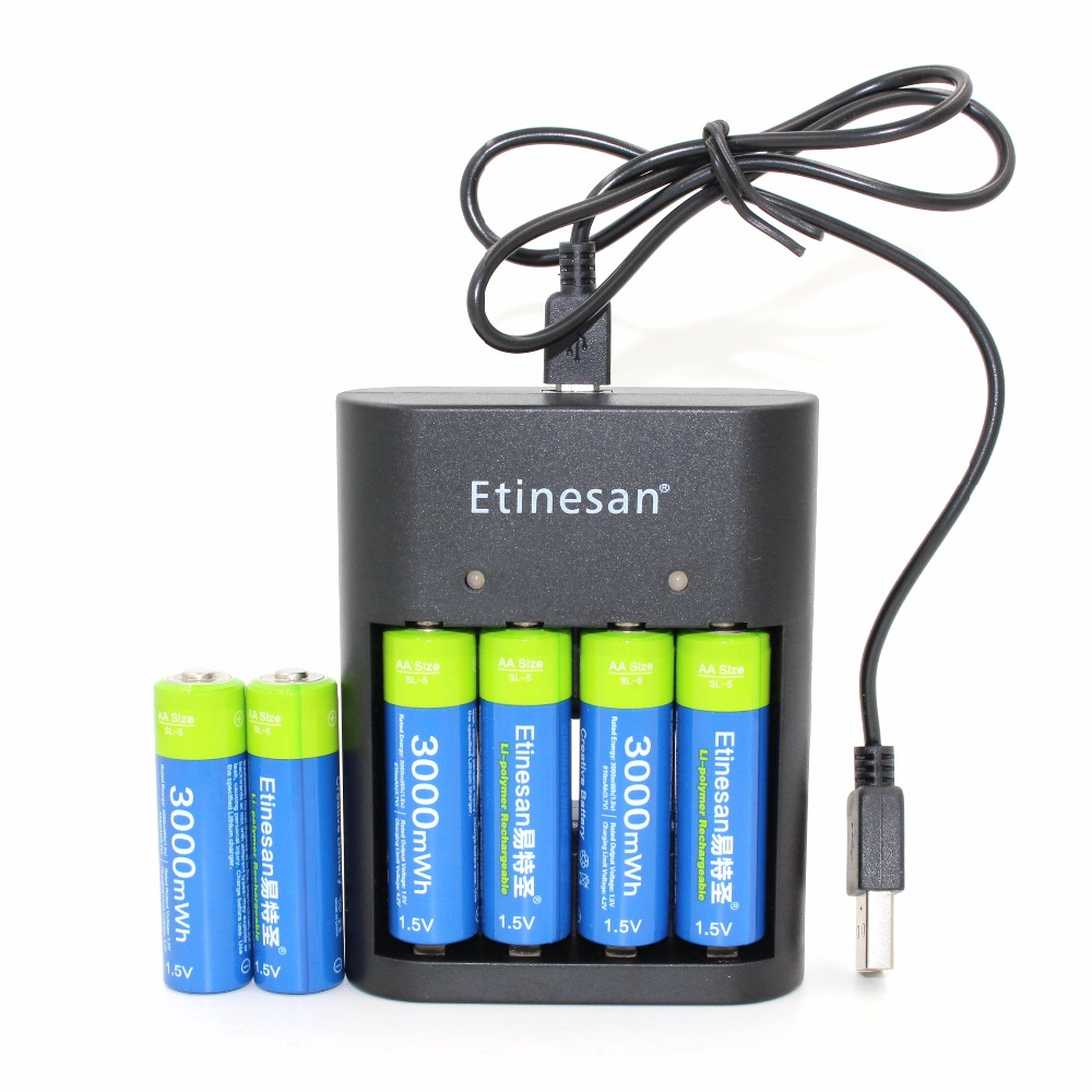 6pcs/lot Etinesan 3000mWh AA battery + USB charger , Li-polymer Li-Po Lithium Lion Rechargeable Battery for Wireless earphone, new 8pcs 1 5v aa lithium polymer rechargeable battery 3000mwh 4 slots usb charger 2a li ion cell replace ni mh type battery
