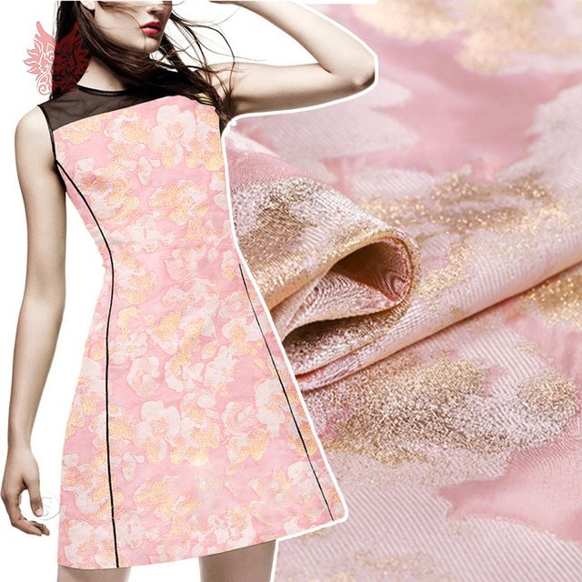 France style pink gold floral metallic jacquard brocade - Fabric that looks like metal ...