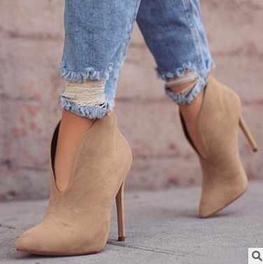 Bayanlar seksi düğün parti binici çizmeleri ayakkabı artı boyutu 34-43 kadın nubuk sivri burun seksi yüksek topuklu yarım çizmeler ayakkabı