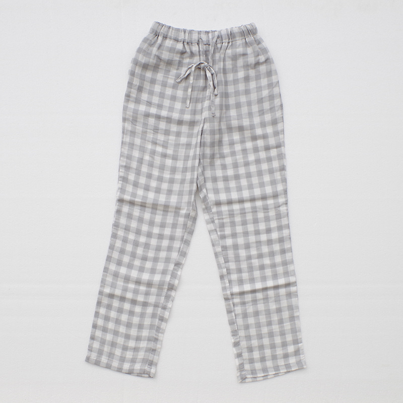 Hoffen Womens Sleep Bottoms Pajamas Pants 100%Cotton Plaid Lounge Pants Loose Casual Comfortable Pijama Femme Home Pant 6Colors