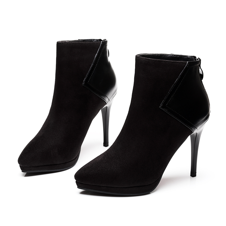 Fashion <font><b>2017</b></font> <font><b>Hot</b></font> Sale <font><b>Top</b></font> <font><b>Quality</b></font> Flock Ankle Boots Thin <font><b>High</b></font> Heel Pointed Toe Solid Black Women <font><b>Motorcycle</b></font> Boots Shoes CH-B0013