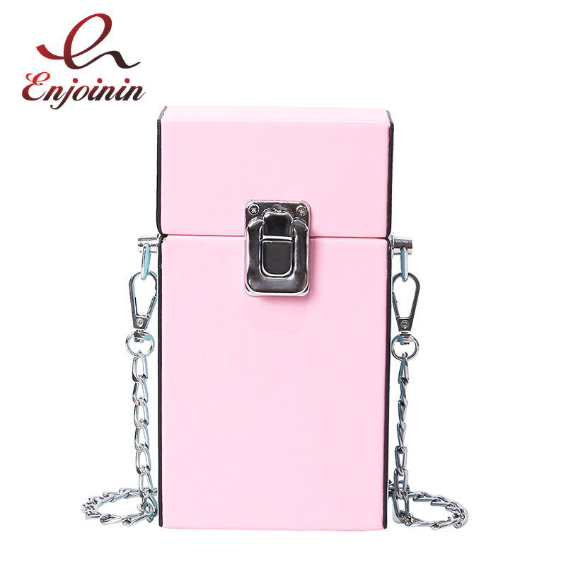 Box Design Pu Leather Candy Color Ladies Chain Purse Shoulder Bag Tote Crossbody Mini Messenger Bag Femal Flap Women's Handbag rdywbu candy color rivet chain shoulder bag women new pearl pu leather flap handbag girls fashion crossbody messenger bag b430