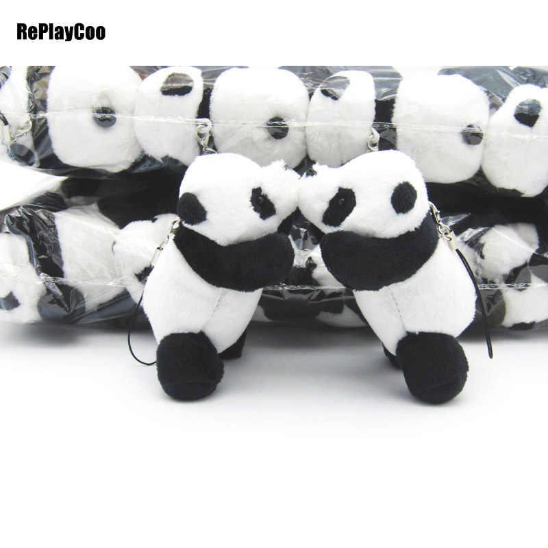 50 шт./лот Kawaii Panda моделирования с цепочкой плюша небольшой кулон по телефону сумка панды куклы детские игрушки подарки для детей 06