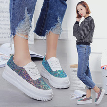 Fashion Sexy Bling Women Flat Platform Shoes White Thick Base Round Toe Women's Shoes 2017 New Superstar Zapatos Mujer