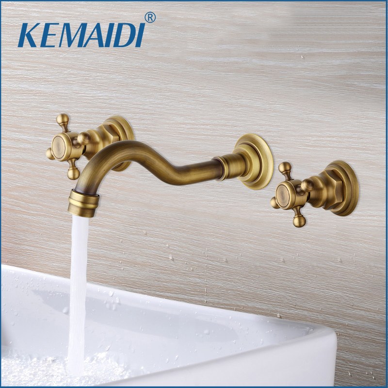 KEMAIDI Bathroom Faucet Double Handles Bathtub Basin Sink Mixer Tap 3 pcs Antique Brass Faucet Set Brand New Deck Mounted kemaidi 3 pcs antique brass