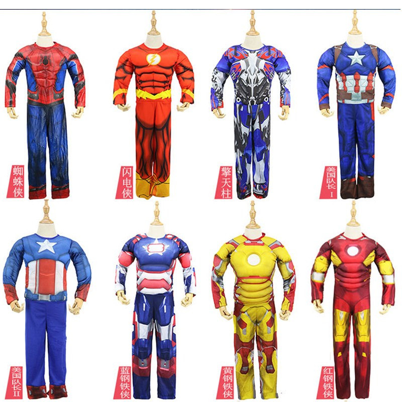 8ab055241e50 Detail Feedback Questions about Children Muscle Super hero Captain America  Thor Batman Hulk SpiderMan Superman Cosplay dressKids Halloween The Avengers  ...