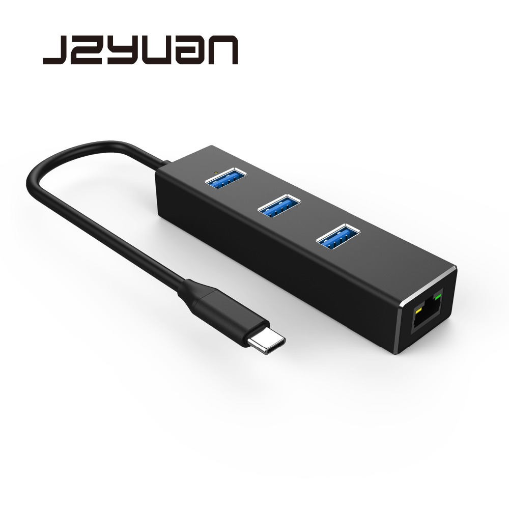 цены JZYuan USB C to Ethernet Adapter For MacBook Pro With Type C USB 3.0 HUB 3 Ports RJ45 Gigabit Network Card Lan Switch Adapter