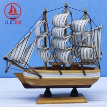LUCKK 16CM Scandinavian Wooden Model Ships Wood Crafts Home Interior Decor Nautical Miniature Handmade Retro Sailboat Figurine