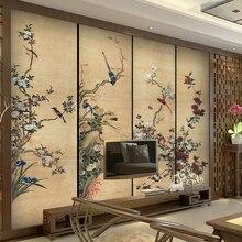 Обои фото 3d ТВ настенная роспись для ТВ фон большие чернила цветок и птица фрески китайский Ретро стиль для гостиной
