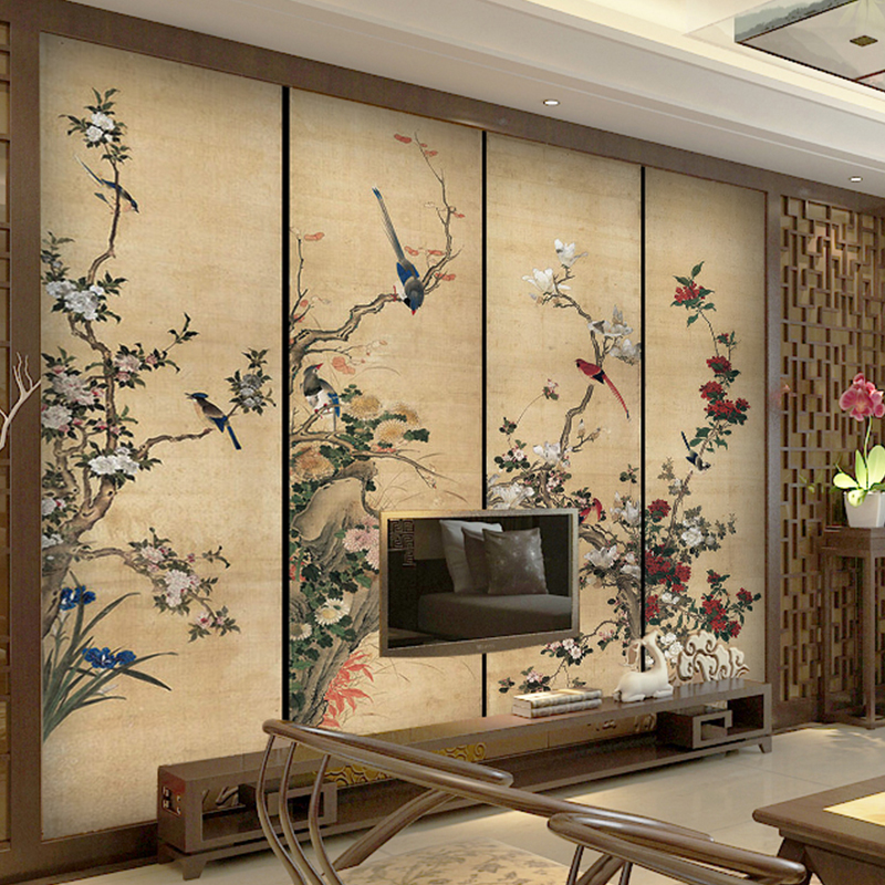 wallpapers photo 3d TV wall Mural for TV background large ink flower and bird frescos Chinese retro style for living room