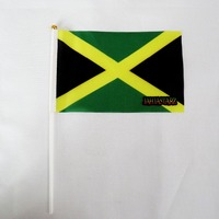 2018 10pcs  Small Jamaica hand waving flag 14*21CM Jamaica Flag the hand national flag with Pole|Flags  Banners & Accessories|   -