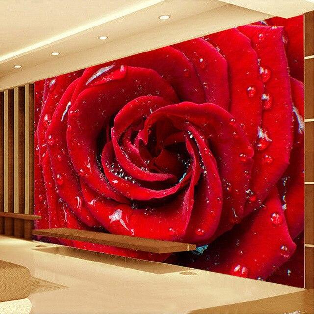Custom mural wallpaper 3d stereoscopic non woven red rose for Red flower wallpaper living room