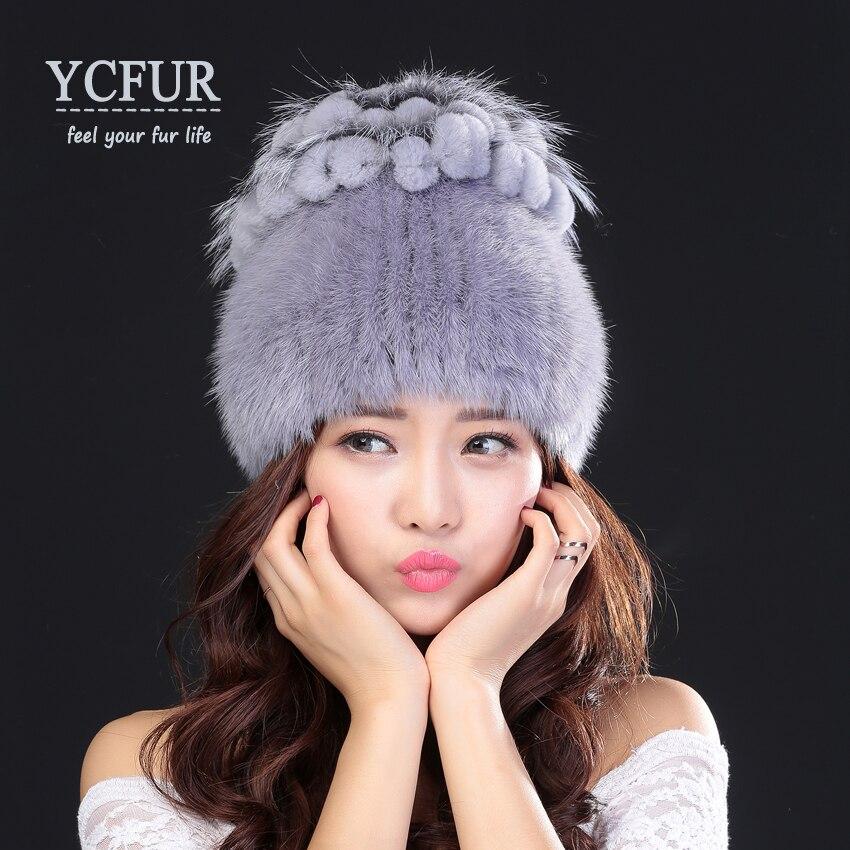 ФОТО YCFUR New Style Women's Winter Fur Hats Soft Warm Thick Genuine Mink Fur Beanies Hats Silver Fox Fur Trims Mink Caps For Ladies