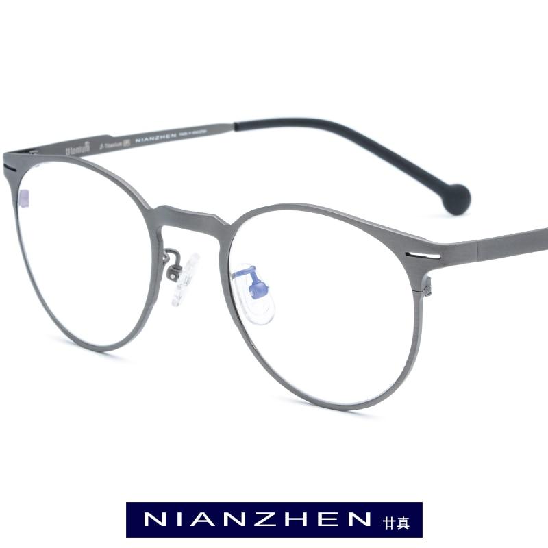 brown Licht Für Vintage 7705 Schwarzes Optischen rot blau Brillen Frauen Männer Titan grau Reinem gold Rahmen Ultra Runde Myopie PUFAqA