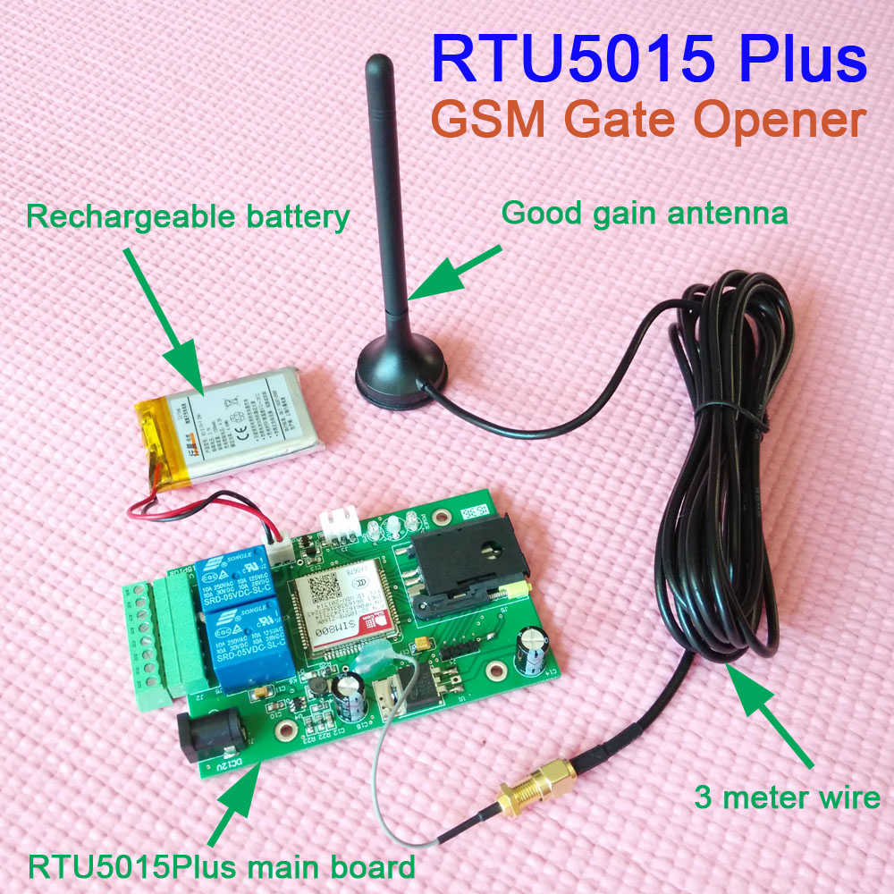 Free shipping RTU5015 Plus GSM Gate Opener Backup battery for power failure alarm Relay Switch Remote Access Control board app цена