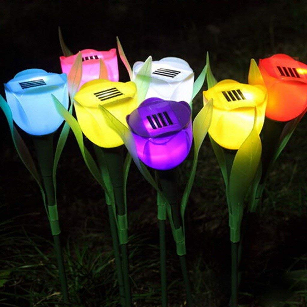 3x Outdoor Solar Powered Tulip Flower LED Light Yard Garden Lawn Landscape Lamp