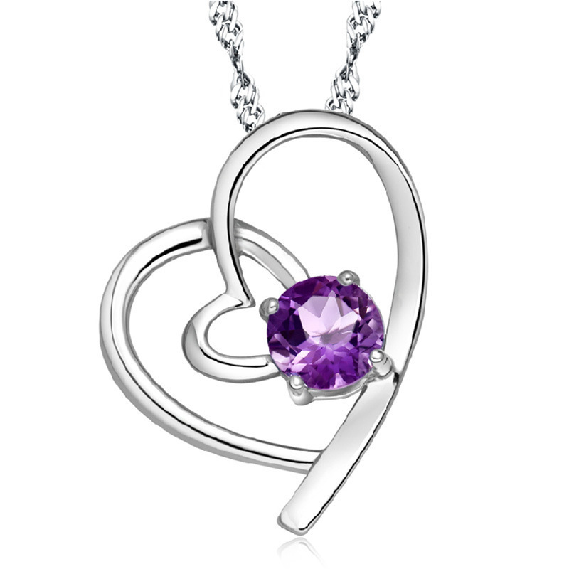 New Silver Plated Crystal Love Heart Necklace Pendant for women fashion jewelry (not match chain)