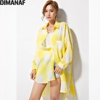 DIMANAF Women Blouse Plus Size Plaid Print Cotton Female Summer Casual Fashion Open Stitch Loose Lady