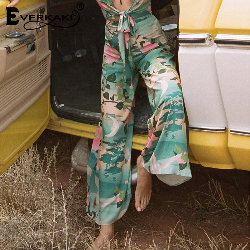 Everkaki Nightingale   Wide     Leg     Pants   Women High Waist Bohemian Floral Long   Pants   With Pocket Boho Loose Womens Trousers 2018