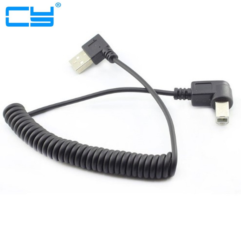 40CM TO 100CM/4ft USB 2.0 Male To 4pin USB B Type Right Angle Retractable Data Charging Cable For USB2.0 Printer And Scanner