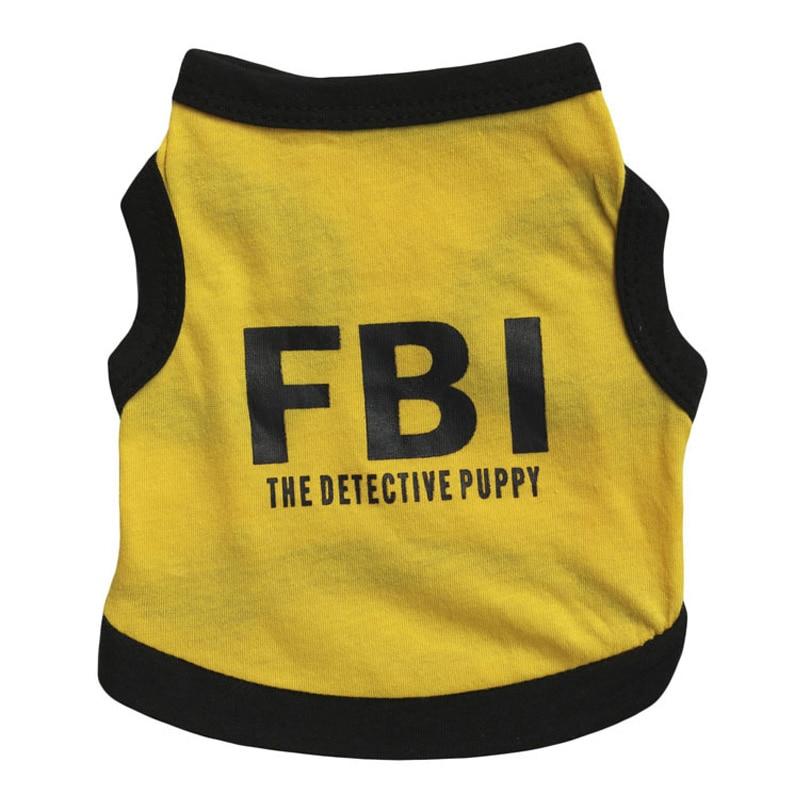 Dog Dress Up Pet Supplies Teddy Clothes FBI Letters Print Spring Summer T-Shirt Pet Vest 8