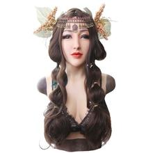 EYUNG dewi Alice realistis wajah perempuan untuk crossdresser Masquerade dengan silikon cair mengisi D cup piring payudara payudara palsu