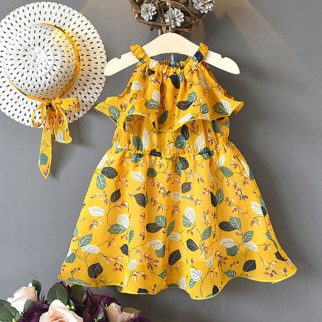Summer Dress Baby clothing Bohemian Style Brand Girls Dress Girls Floral Lace Dress With a Hat Splicing Sundress Clothes Dress