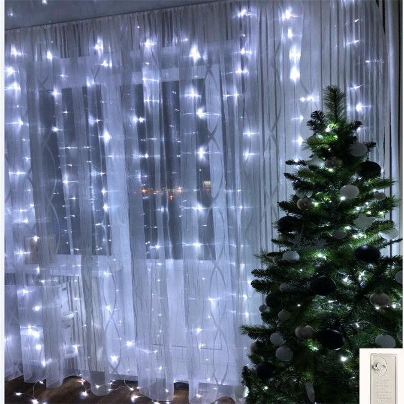 3x2M 180leds Memory Fairy Flash LED String Lights For Christmas Party Curtain Icicle Garland Wedding Decoration Twinkle Lamp