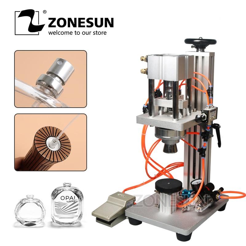 ZONESUN Pneumatic Perfume Bottle Vial Crimping Capping Machine Liquid Aluminum Oral Spray Cap Sealer Lid Cap Locking Machine