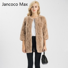 Jancoco Max S1537 Lady Real Fur Jacket Women Genuine Rex Rabbit Fur Long Coat Pocket Winter