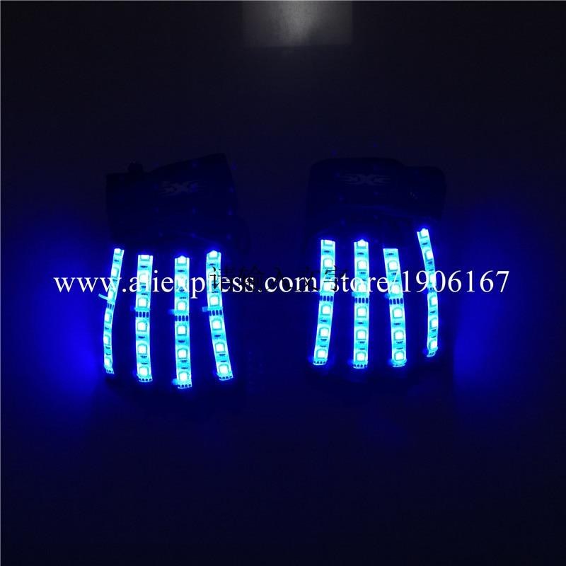 Fashion Colorful LED Luminous Flashing Gloves Led RGB Illuminate Party Gloves For DJ KTV Nightclub Bar Stage Show Dance Wear