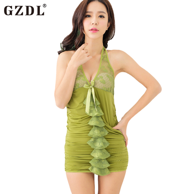 542279fcda99a US $14.22 |GZDL Exotic Sexy Women Halter Backless Bodycon Dress Lingerie  Slim Fit Skinny Babydoll Chemies Nightdress Wave Thongs Set SY4135-in ...