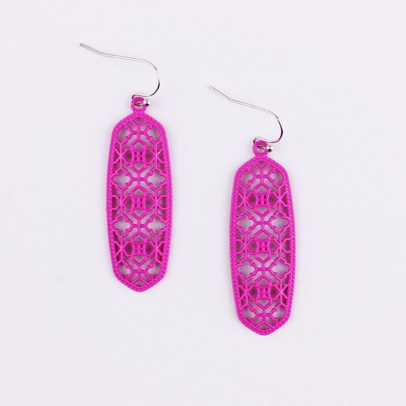 4 цвета,, хит, бренд, дизайнерские, вдохновленные, выдолбленные Висячие серьги-капли для женщин, серьги-капли с монограммой - Окраска металла: E2746 Hot Pink