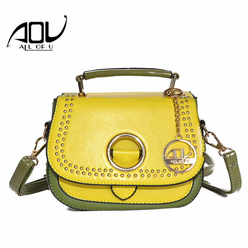 AOU Women s bags luxury handbags women bags designer 2017 summer Panelled PU leather Flap bags